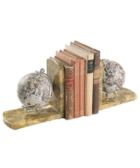 Yellow topaz marble globe bookends