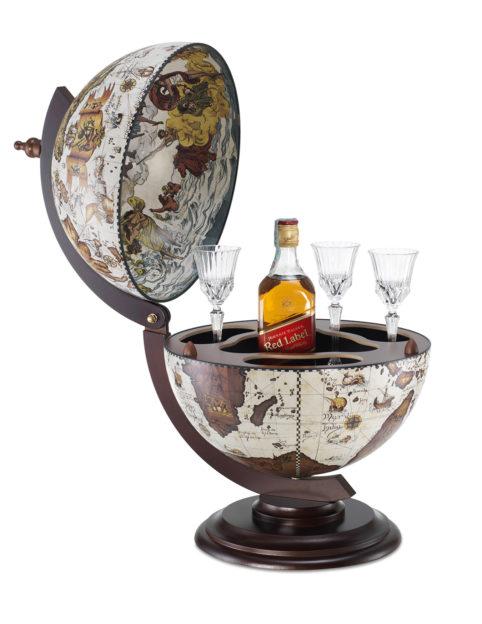 Sfera Small desk top bar globe cabinet - ivory, product photo - open