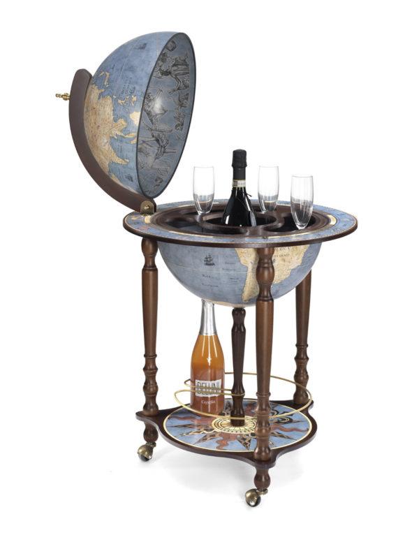 Da Vinci floor globe drinks cabinet - blue dust, open, product photo