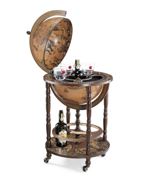 Mobile Minerva floor globe drinks cabinet - product photo, classic color