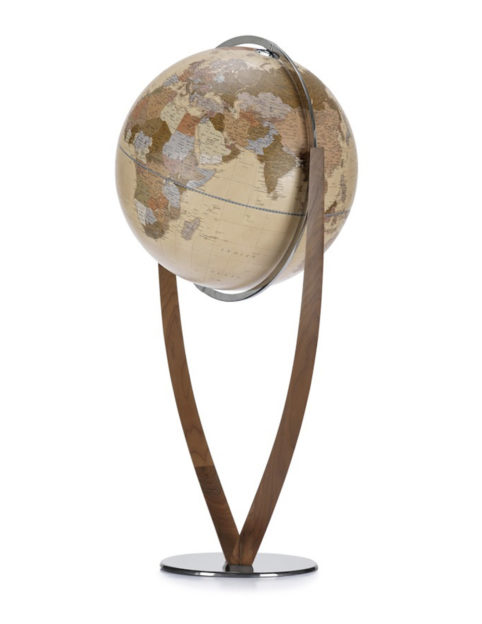 Product photo of Versus, an extra large, contemporary world globe. Apricot color.