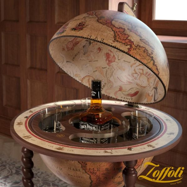 Product image of the honey brown Exceptional Explora floor globe bar cabinet - front view