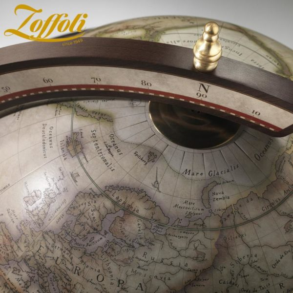 Product image of the antique white Exceptional Explora floor globe bar cabinet - top view