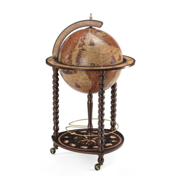 Product image of the honey brown Exceptional Explora floor globe bar cabinet - closed