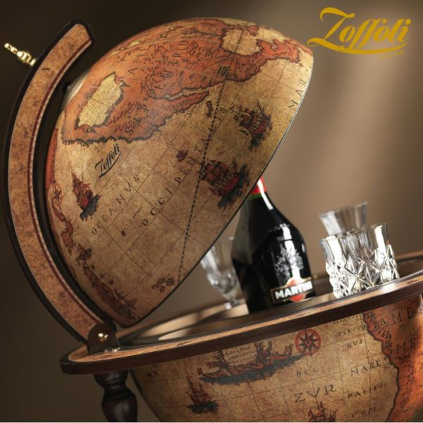Product image of the honey brown Exceptional Explora floor globe bar cabinet - side view