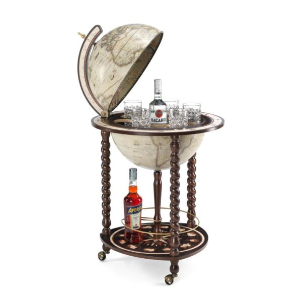 Product image of the antique white Exceptional Explora floor globe bar cabinet - open