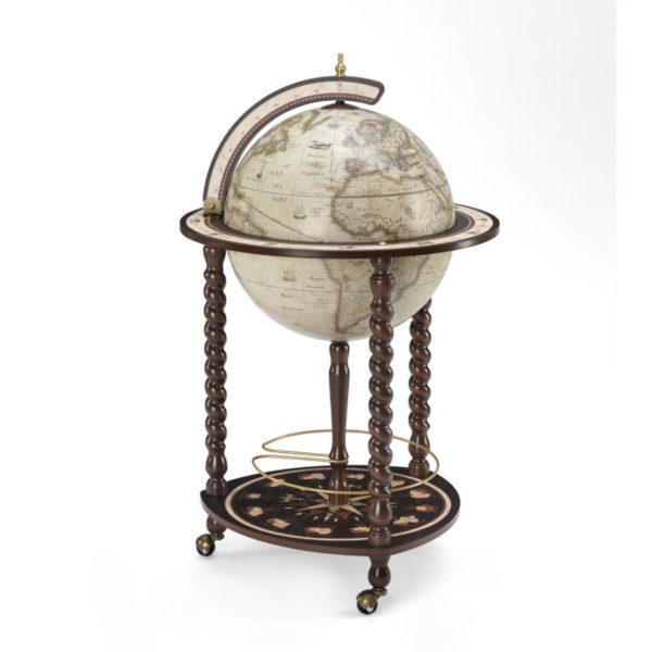 Product image of the antique white Exceptional Explora floor globe bar cabinet - closed
