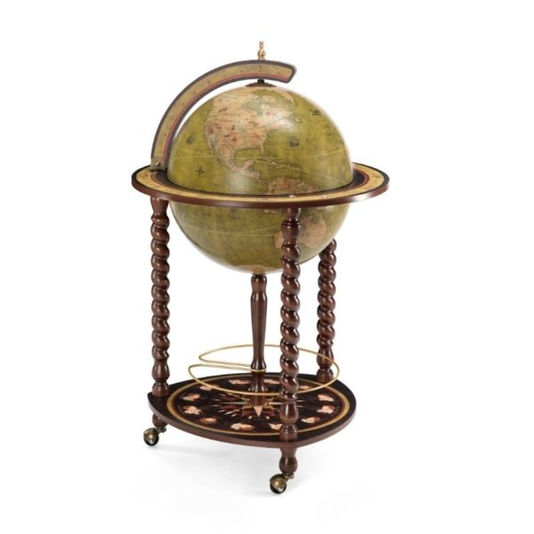 Product image of the olive green Exceptional Explora floor globe bar cabinet - closed