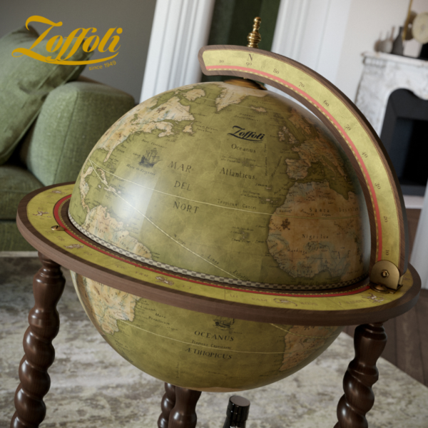 Product image of the olive green Exceptional Explora floor globe bar cabinet - side view